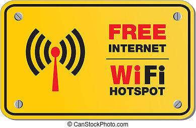 wifi, インターネット, 無料で, hotspot, サイン
