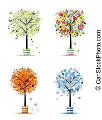 winter., 芸術, 春, -, ポット, 木, 4, デザイン, 秋, 季節, あなたの, 夏
