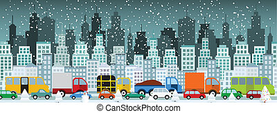 (winter), 都市, 混雑, 交通
