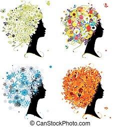 winter., 頭, 芸術, 春, 秋, -, 4, デザイン, 女性, 季節, あなたの, 夏