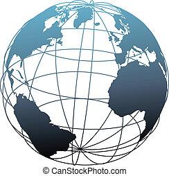 wireframe, 全体的な地球, 大西洋, 緯度, 地球