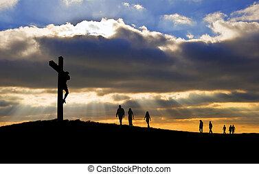 witth, 歩くこと, よい, シルエット, キリスト, 人々, 金曜日, の上, 交差点, ∥に向かって∥, 丘, はりつけ, イエス・キリスト, イースター