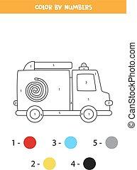 worksheet., 色, トラック, 漫画, 火, 交通機関, numbers.