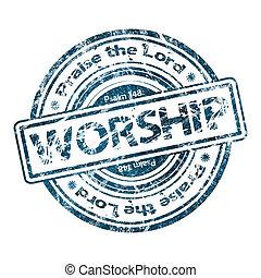 """worship"", グランジ, 切手, ゴム"