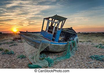 wtih, ネッツ, 捨てられた, ボート, 釣り