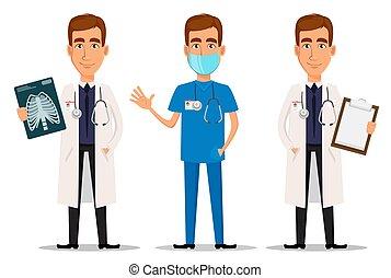 x 線, 専門家, 振ること, 手, 医者, 打撃, セット, クリップボード, 若い