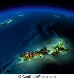 zealand, -, 太平洋, 夜, 新しい, earth.